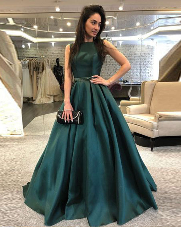 421fb469de 2019 Hunter Green Satin Prom Dresses with Belt Beadings Boat Neck ...