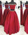 Red Two Piece Prom Dresses 2019 Fashion Off The Shoulder Long Prom Party Gowns Beaded