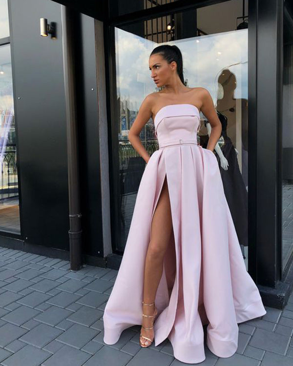 Sexy Strapless Satin Prom Dresses with Pockets 2019 New Long Prom Party  Gowns Split Side