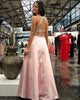 Delicate Pink Satin Beaded Prom Dresses with V-Neck Long Prom Gowns for Party Open Back