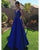 Elegant 2019 V-Neck Prom Dresses with Beadings New Royal Blue Prom Gowns Floor Length