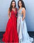 Delicate V-Neck Red Prom Dresses Satin Beaded Sequins 2019 Fashion Long Party Dress