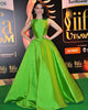 Fashion 2019 Green Satin Prom Dresses with O-Neck New Ball Gown Prom Gowns for Party