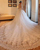 Luxury Cathedral Train Lace Wedding Dresses Ball Gowns 2019 V-Neck Bridal Gowns Half Sleeve