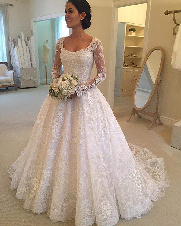 Elegant Sheer Long Sleeve Lace Wedding Dresses