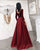 Elegant Full Sleeve Prom Dresses V-Neck 2019 Burgundy Velvet Satin Long Prom Formal Dress