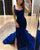 Royal Blue Velvet Prom Dresses 2019 Chapel Train Open Back Long Prom Formal Dress