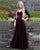 Sexy Grape Velvet Prom Dresses 2019 Fashion 3/4 Sleeve V-Neck Prom Party Dress