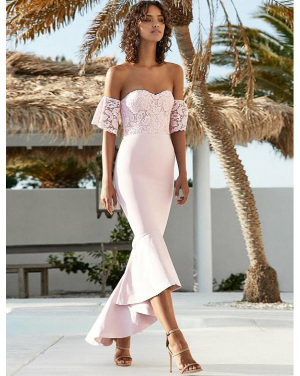 299d1e7b96 Blush Pink 2019 Cap Sleeve Lace Bridesmaid Dresses Mermaid Party Gowns  Ankle Length