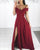 2019 Burgundy Satin Prom Dresses with Split Off The Shoulder Long Pageant Gowns New
