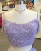 Off The Shoulder Lilac Tulle Lace Prom Dresses Appliques Beaded Long Prom Gowns 2019