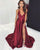 2019 Sexy Deep V-Neck Burgundy Prom Dresses with Split Side Long Pageant Gowns