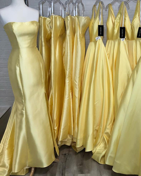 590b36e6a306 Sexy Strapless 2019 Yellow Satin Prom Dresses Mermaid Long Prom Gowns Party  Dress