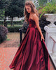 Royal Blue 2019 Satin Prom Dresses Sweetheart Long Prom Ball Gowns Corset Back