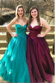 2019 Burgundy Organza Prom Dresses Sweetheart Long Prom Gowns for Party