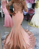 Elegant Coral Pink Prom Dresses Mermaid Lace Applqiues Bodice Sexy Sheer Sleeve Evening Gowns