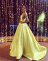 2020 Elegant Yellow Satin Ball Gown Prom Dress Deep V-Neck Long Pageant Gowns