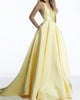 2020 Elegant Yellow Satin Ball Gown Prom Dresses Deep V-Neck Long Prom Party Gowns