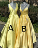 Sexy 2019 Elegant Yellow Satin Prom Dresses with V-Neck Long Prom Party Gowns