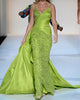 New Sexy Emerald Green Mermaid Prom Dresses V-Neck Beaded Long Prom Gowns with Full Beadings