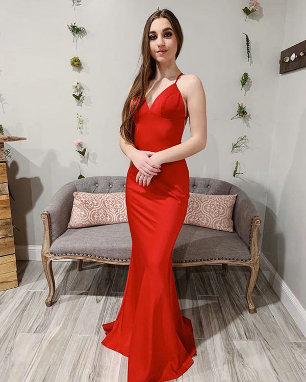 23ff373d657 2019 Red Satin Mermaid Prom Dresses with V-Neck Long Prom Homecoming Party  Gowns