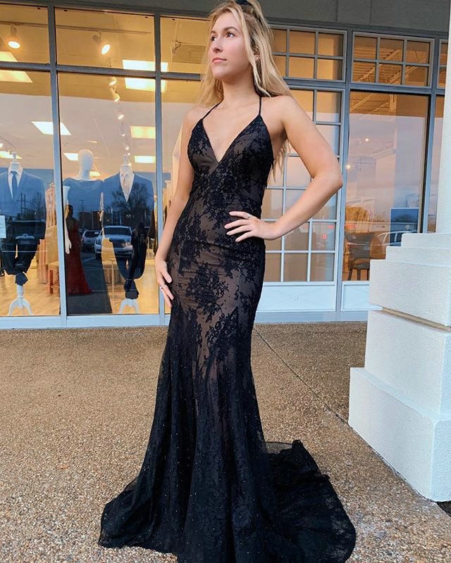 7246875f33b Black Lace Mermaid Prom Dresses 2019 Delicate Long Party Gown Appliques  Criss Cross