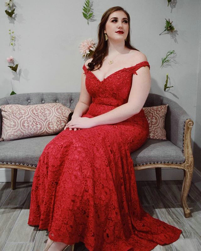 97588b4324cdcb Off The Shoulder Red Lace Mermaid Prom Dresses Beaded Plus Size Prom Gowns  2019