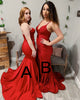 Sexy Red Mermaid Prom Dresses Elastic Satin Long Prom Gowns 2019 New