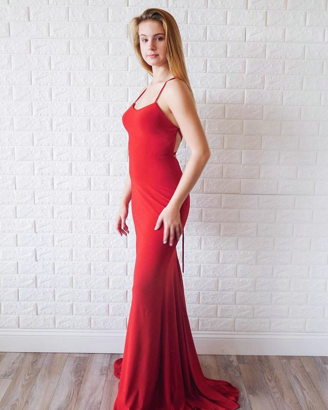 1e76b31637d Delicate 2019 Red Satin Mermaid Prom Dresses Long Pageant Gowns Criss Cross  Back
