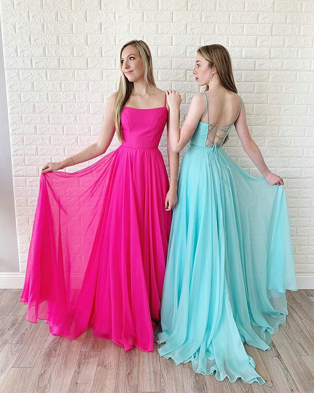 424017d57e2 Hot Pink Prom Dresses with Spaghetti Straps Elegant Chiffon Ruffles A-line  Prom Gowns 2019