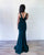 Sexy Dark Green Mermaid Prom Dresses V-Neck Lace Appliques Beaded Long Prom Gowns Slit