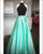 2019 Black Mint Satin Prom Dresses with Halter Neckline Sexy Long Prom Gowns Beadings