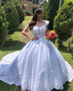Elegant Lace Wedding Dress Ball Gown Cap Sleeve Appliques Bridal Gowns with Sheer V-Neck