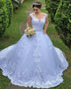 2019 Sexy Lace Wedding Dress Ball Gown Appliques See Through Tulle Scoop Bridal Gowns