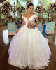 Shiny Sequins Ball Gown Wedding Dresses Off The Shoulder Elegant 2019 Bridal Gowns