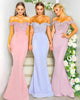 Off The Shoulder Lace Mermaid Bridesmaid Dresses Sheer Lace Train Long Party Gowns