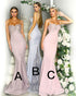 Sexy Lace Mermaid Bridesmaid Dresses Spaghetti Straps Sheer Lace Train Long Party Gown