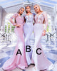 Full Sleeve Lace Mermaid Bridesmaid Dresses Appliques 3D Flowers Sexy Long Party Gown