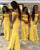 2019 Yellow Sequins Bridesmaid Dresses V-Neck Cap Sleeve Mermaid Wedding Party Gowns