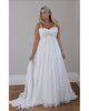 2019 Crystals Plus Size Beach Wedding Dresses 2018 Corset Back Spaghetti Straps Chiffon Floor Length Empire Waist Elegant Bridal Gowns Sleeveless
