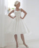 Short Tea Length Ivory Wedding Dress with Spaghetti Lace Straps Backless Tulle Bodice Pearls