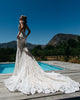 2020 Unique Lace Wedding Dress Pockets Sheer Deep V-neck Lace Bridal Gowns with Long Train