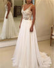 2020 Sexy Beach Wedding Dresses Illusion Lace Appliques V-Neck A Line Backless Bohemian Bridal Gown