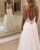 Sexy Beach Wedding Dresses Illusion Lace Appliques V-Neck A Line Backless Bohemian Bridal Gown