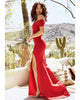 Off The Shoulder Sheath Prom Dresses Cap Sleeve Spandex Long Evening Gowns Split Side