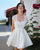 2020 Short Wedding Dresses with Lace Jacket Summer Beach Satin Wedding Gowns Pockets