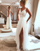 Sexy Beach Wedding Dresses Lace Appliques V-Neck A Line Backless Bohemian Bridal Gown Split Side 2020 spring