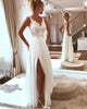 Sexy Beach Wedding Dresses Lace Appliques V-Neck A Line Backless Bohemian Bridal Gown Split Side
