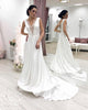 Elegant Silk like Satin Wedding Dresses Lace Appliques A Line V-Neck Bohemian Wedding Gown