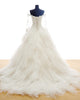 Elegant Tulle Layered Skirts Wedding Dresses Ball Gown Full Sleeve Lace Appliques Bridal Gown